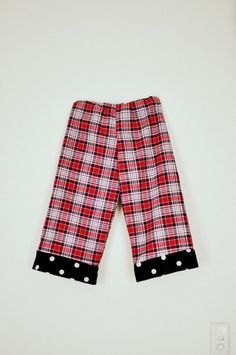 Toddler boys long trousers pants pyjama bottoms red and navy tartan with spots age 4. $20