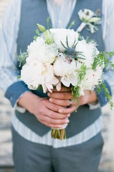 Love the peonies and blue thistle and little bit of green