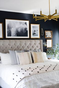 Black and brass accents give this master bedroom reveal a moody edge! A combination of black paint, moody artwork, brass accents and an art deco flair give this master bedroom reveal both a masculine and feminine vibe. Master Bedroom Design, Home Decor Bedroom, Modern Bedroom, Bedroom Furniture, Bedroom Designs, Dark Master Bedroom, Dark Furniture, Blue And Gold Bedroom, Bedroom Black