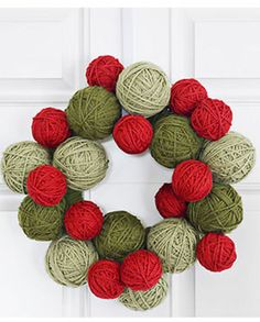 Wool Round Christmas Decor in Red and Green Color