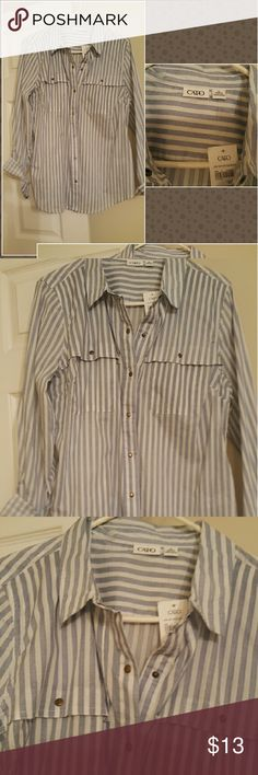 NEW WITH TAG WOMEN'S SHIRT SNAPS, STRIPPED REALLY CUTE LONG SLEEVE NEW SHIRT Cato Tops Button Down Shirts