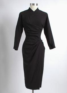 1950's Dorothy O'Hara draped wool cocktail dress #1950s