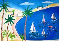 Sailing to Mexico #nautical #sailing print by Mercedes Lagunas