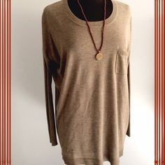 Trouvé Tan Sweater Lightweight long sweater perfect to wear over leggings and worn with flats or boots. Tiny little snag on front my pocket, hardly can tell. Slight oversized and could fit a smaller medium. Trouve Sweaters Crew & Scoop Necks