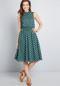 6aceb17655e2 ModCloth Savor the Occasion Woven A-Line Dress Green Polka Dot | ModCloth