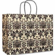 Onyx Damask Vogue Shoppers, 16 x 6 x 12 - Retail Supplies, Damask, Vogue, Bows, Tote Bag, Shopping, Collection, Fashion, Moda