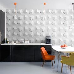 It's the last week of #colormyworldmonday and the theme is neutrals, so I wanted to repost one of, if not my #favorite picture of our Cube Wallpaper Tiles in action, totally neutral with pops of neon perfection! Photo credit: @5.style Interior design at its finest! #instadesign #instagood #remodel #redesign #madeinamerica #dreamkitchen #sustainablity #colormyworld
