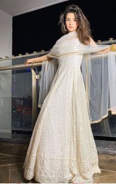 Excited to share this item from my shop: chikan Lucknowi thread embroidery georgette kaftan gown dress indian designer wedding wear women dresses pakistani clothes Anarkali Suits Indian Fashion Dresses, Indian Bridal Outfits, Indian Gowns Dresses, Dress Indian Style, Pakistani Outfits, Pakistani Party Wear Dresses, Eid Dresses, Pakistani Gowns, Bridal Anarkali Suits