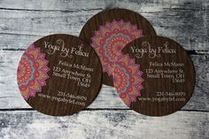 Circle Yoga Business Cards  Mandala Wooden by heartsandarrowsshop
