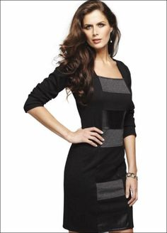 Frank Lyman.   Long sleeved knit dress with leather trim.
