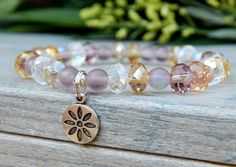 Crystal Beaded Bracelet in Light Tones with a Daisy Charm