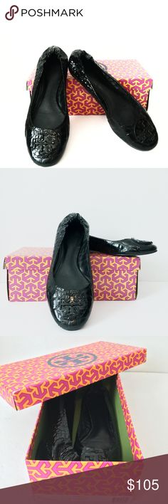 Tory Burch croc patent leather flats Gorgeous condition! Original box  included Tory Burch Shoes