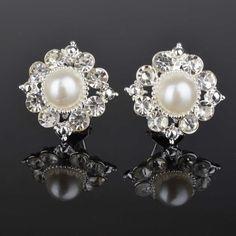"Rhinestone Gem Flower Pearl Round Stud Wedding Gauges Plugs Earrings 0g 00g 7/16"" 1/2"" 8mm 9mm 11mm 12mm"