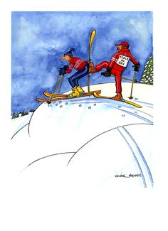 Funny skiing card by Oliver Preston Ecole du Ski Greetings card featuring a funny cartoon by Oliver Preston about a ski instructor giving some 'encouragement' t