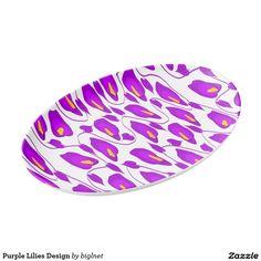 Purple Lilies Design Porcelain Serving Platter