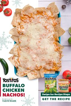#ad Kick your love of nachos up a notch with layers of buffalo chicken, TOSTITOS®, shredded cheese and Salsa Con Queso for the most satisfying sheet-pan snack. Appetizer Recipes, Appetizers, Snacks Recipes, Party Recipes, Healthy Snacks, Buffalo Chicken Nachos, Great Recipes, Favorite Recipes, Good Food