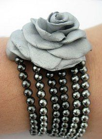 Clay Rose Multistrand Bracelet   AllFreeJewelryMaking.com