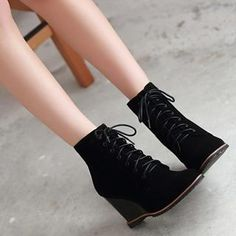 Pangmama - Lace-Up Wedge Ankle Boots