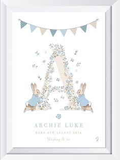 This Beautiful Peter Rabbit Name print, would look lovely on any wall of you little one's nursery/bedroom. The flower may be made slightly bigger to accommodate the crystal. The crystal will fit into an ordinary glass frame, a box frame isn't required. Baby Shower Invites For Girl, Baby Boy Shower, Baby Shower Invitations, Birthday Gifts For Boys, Baby Boy Birthday, Baby Boy Rooms, Baby Boy Nurseries, Peter Rabbit Nursery, Baby Frame
