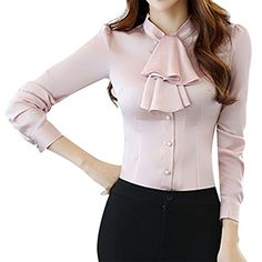 Special Offer: $21.99 amazon.com E.JAN1ST Women's Long Sleeve Shirt Tie Bow Neck Button End Slim Fit Chiffon BlouseStand collar, Tie-bow neck, Button end closure and button cuff, Long sleeve, Slim fitGreat to pair with both dressy blazers or casual jackets and fitted pantsSuitable for...