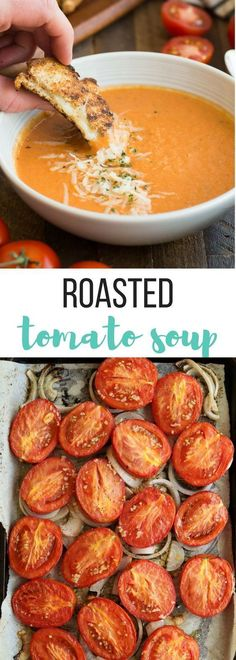 This Easy Roasted Tomato Soup is MUCH better than the can and couldn't be simpler -- perfect for fresh garden tomatoes and herbs! A healthy gluten-free and vegetarian meal with dairy free and vegan options.