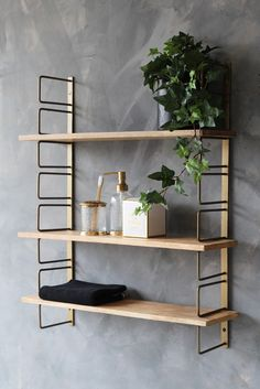 Adjustable Brass & Wood Wall Shelf from . - Adjustable Brass & Wood Wall Shelf from Rockett St George – # - Wall Shelf Unit, Kitchen Wall Shelves, Wooden Wall Shelves, Wooden Walls, Wall Wood, Brass Shelving, Shelving Units, Wood Shelf, Ikea Wall Shelves