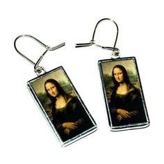 The Mona Lisa - Leonardo da Vinci - handmade earrings (190 MXN) ❤ liked on Polyvore featuring jewelry, earrings, vintage jewellery, vintage jewelry, vintage earrings, two sided earrings and earrings jewellery