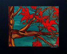 Maple Tree Maple leaf west coast Canadian art print by April Lacheur Yapes Paints 11x14
