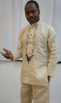 Men's Linen Design  African Linen Design Set for men with Exquisite Embroidery for taste  http://www.africanattire.co.uk/men-s-products/linen-design