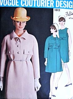 1960s Mod FABIANI Dress and Coat Pattern Vogue Couturier Design 1812 Lovely Empire Slim Dress Loose Coat Bust 34 Vintage Sewing Pattern