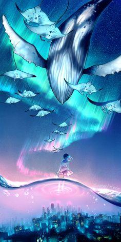 Dream Escape by yuumei – Art Center Art Anime, Anime Kunst, Anime Artwork, Manga Art, Fantasy Kunst, Fantasy Art, Anime Fantasy, Main Manga, Yuumei Art