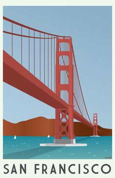 Series of illustrations to promote a yearly customer conference. Location is in San Francisco and the theme is based on classic travel posters. Poster City, Bike Poster, Surfing Pictures, San Francisco Travel, Travel Illustration, Posca, Vintage Travel Posters, Cool Posters, Poster Prints