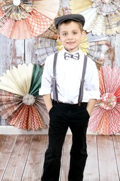 boys bow tie suspender set, grey chevron boys, boys easter outfit, sibling outfit. $28.50, via Etsy.