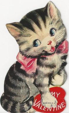 kitten Valentine * 1500 free paper dolls at Arielle Gabriel's The International Paper Doll Society also at The China Adventure of Arielle Gabriel free paper dolls * Valentine Images, Valentine Greeting Cards, Vintage Valentine Cards, Vintage Greeting Cards, Vintage Holiday, Vintage Postcards, Vintage Images, Valentines Day Cat, My Funny Valentine