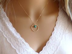 Gold Necklace Gold Circle Necklace Gold Textured by KRcollection