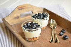 Geschummelter Blaubeer-Cheesecake im Glas