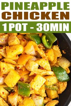 Easy Pineapple Chicken PINEAPPLE CHICKEN RECIPE- Quick, easy, healthy, made with simple ingredients in one pot and just 30 minutes. This simple weeknight meal is sweet and tangy with a subtle spicy kick. Quick Weeknight Meals, Easy Healthy Dinners, Healthy Dinner Recipes, Quick Easy Healthy Dinner, Easy Healthy Chicken Recipes, Fast Recipes, Healthy Drinks, Crockpot Recipes, Pineapple Chicken Recipes