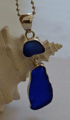 Blue Sea Glass Pendant, $120.00