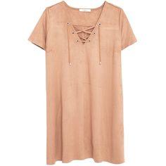 Mango Drawstring Dress, Medium Brown ($23) ❤ liked on Polyvore featuring dresses, boho, short dresses, short sleeve dress, boho dresses, short maxi dress, maxi dresses and red mini dress