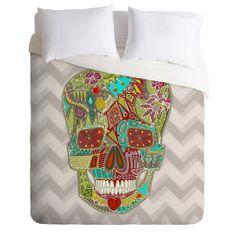 Sharon Turner Flower Skull Duvet Cover   DENY Designs Home Accessories