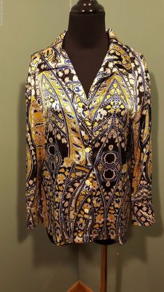 N Natori Black Blue Yellow White Polyester Satin Asian Style Dress Blouse S Euc #Natori #Blouse #Dress #daystarfashions $19 FREE SHIP