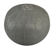 Moroccan Grey Leather Ottoman