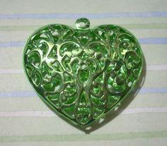 Green Filigree Puffed Heart Pendant Filigree Heart