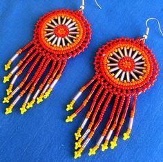 Mexican Huichol Beaded earrings by Aramara on Etsy,