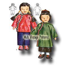 Chinese Boy & Girl Vintage International Cloth Dolls Pattern