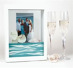 Found the perfect empty unity sand frame at Michael's Crafts--buy one get one free!  Will go great with the fluted champagne glasses my daughter received at her engagement party!
