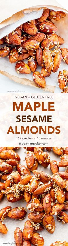 Maple Sesame Almonds (V+GF): An easy recipe for skillet-roasted maple sesame almonds made with just 6 ingredients.
