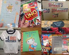 Top 10 Ideas to put in a Big Brother Kit: 1. Big brother book 2. Big brother t-shirt 3. Big brother card 4. A new game 5. Big brother necklace 6. Big Brother Brag Book (put pics in later of the big day) 7. A new toy 8. Snacks to keep busy while waiting 9. Lollipops 10. Cards to play different card games with family members Individually wrap every present and place in a bag that says Big Brother Kit. Big brother will be excited to open every little item, and that can pass the time away too!