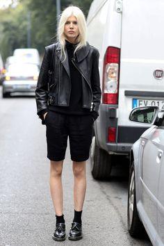 black on black. #OlaRudnicka #offduty in Paris.