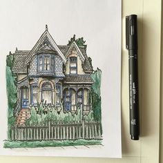 Victorian watercolor house